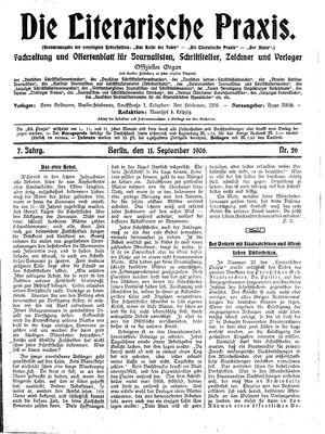 ˜Dieœ literarische Praxis vom 11.09.1906