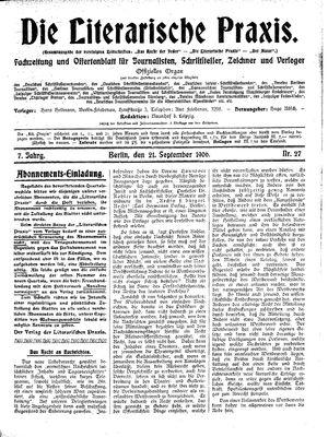˜Dieœ literarische Praxis vom 21.09.1906