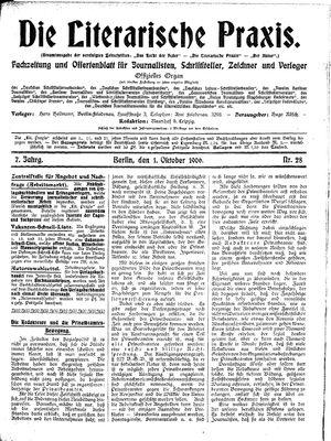 ˜Dieœ literarische Praxis vom 01.10.1906