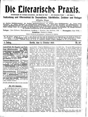 ˜Dieœ literarische Praxis vom 11.10.1906