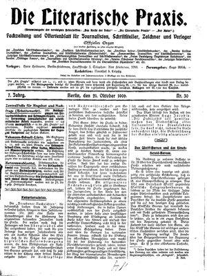 ˜Dieœ literarische Praxis vom 21.10.1906