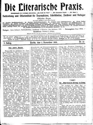 ˜Dieœ literarische Praxis vom 01.11.1906