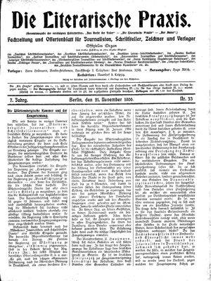 ˜Dieœ literarische Praxis vom 21.11.1906