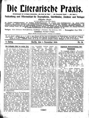 ˜Dieœ literarische Praxis vom 01.12.1906