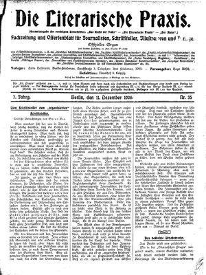 ˜Dieœ literarische Praxis vom 11.12.1906