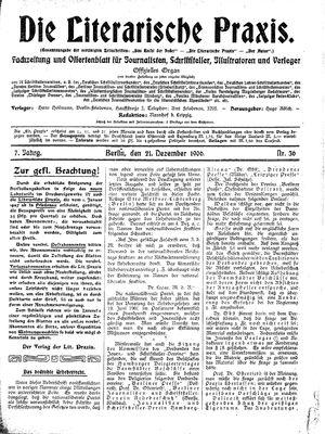 ˜Dieœ literarische Praxis vom 21.12.1906
