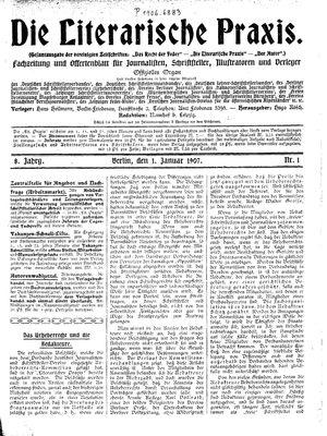 ˜Dieœ literarische Praxis vom 01.01.1907