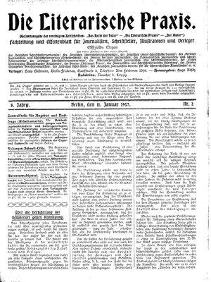˜Dieœ literarische Praxis vom 11.01.1907