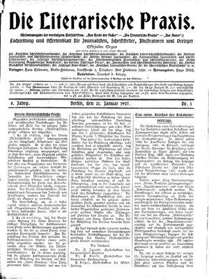 ˜Dieœ literarische Praxis vom 21.01.1907