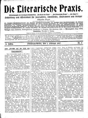 ˜Dieœ literarische Praxis vom 01.02.1907