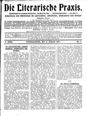 ˜Dieœ literarische Praxis vom 11.02.1907