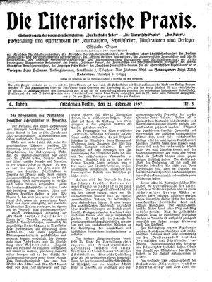 ˜Dieœ literarische Praxis vom 21.02.1907