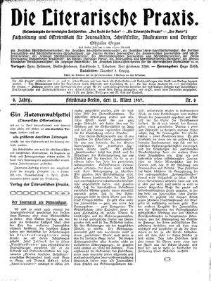˜Dieœ literarische Praxis vom 11.03.1907