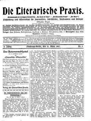˜Dieœ literarische Praxis vom 21.03.1907
