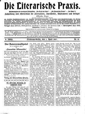 ˜Dieœ literarische Praxis vom 01.04.1907