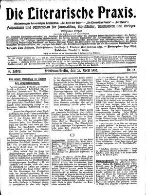 ˜Dieœ literarische Praxis vom 21.04.1907