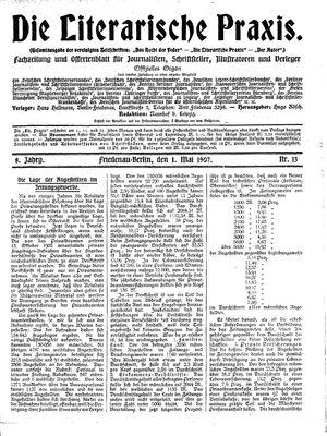 ˜Dieœ literarische Praxis vom 01.05.1907