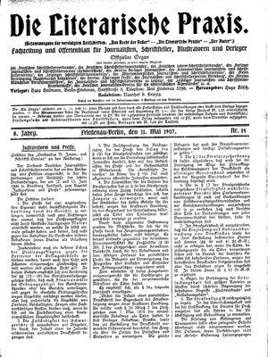 ˜Dieœ literarische Praxis vom 11.05.1907