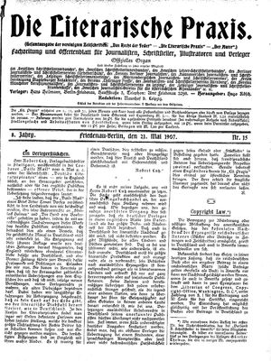 ˜Dieœ literarische Praxis vom 21.05.1907