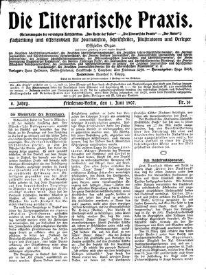˜Dieœ literarische Praxis vom 01.06.1907