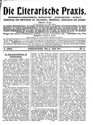 ˜Dieœ literarische Praxis vom 11.06.1907