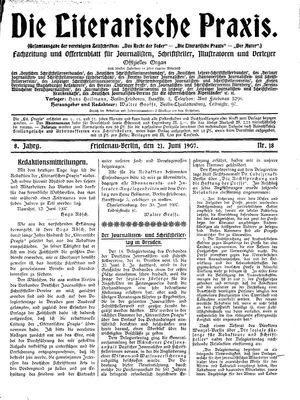 ˜Dieœ literarische Praxis vom 21.06.1907