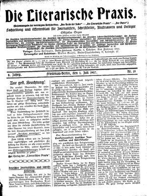 ˜Dieœ literarische Praxis vom 01.07.1907