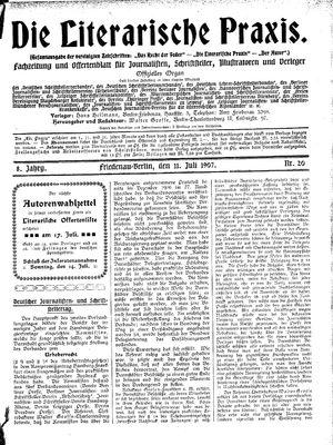 ˜Dieœ literarische Praxis vom 11.07.1907