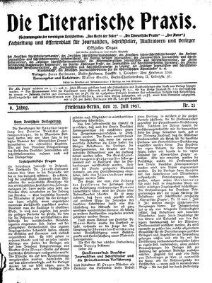 ˜Dieœ literarische Praxis vom 21.07.1907