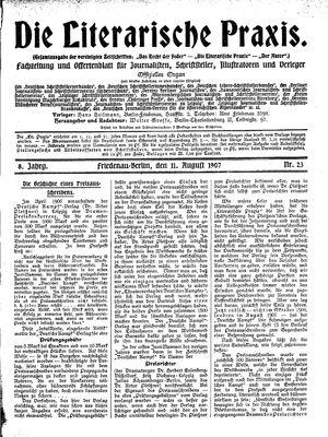 ˜Dieœ literarische Praxis vom 11.08.1907