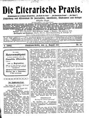 ˜Dieœ literarische Praxis vom 21.08.1907