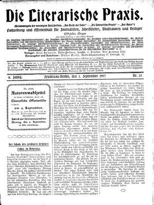 ˜Dieœ literarische Praxis vom 01.09.1907