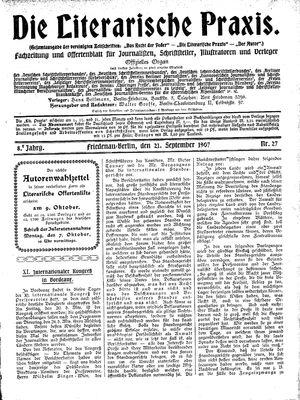 ˜Dieœ literarische Praxis vom 21.09.1907