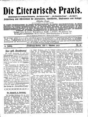 ˜Dieœ literarische Praxis vom 01.10.1907