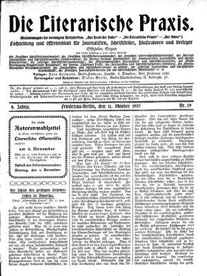 ˜Dieœ literarische Praxis vom 11.10.1907