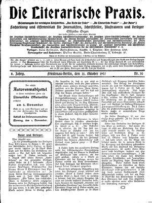 ˜Dieœ literarische Praxis vom 21.10.1907