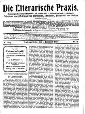 ˜Dieœ literarische Praxis vom 01.11.1907