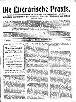 ˜Dieœ literarische Praxis vom 11.11.1907