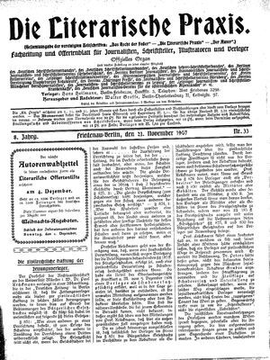 ˜Dieœ literarische Praxis vom 21.11.1907