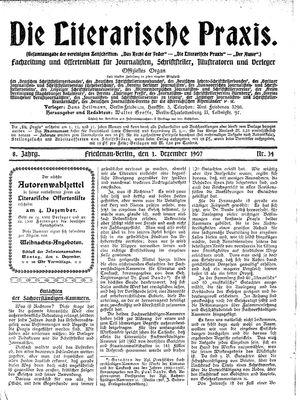 ˜Dieœ literarische Praxis vom 01.12.1907