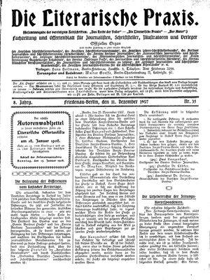 ˜Dieœ literarische Praxis vom 11.12.1907