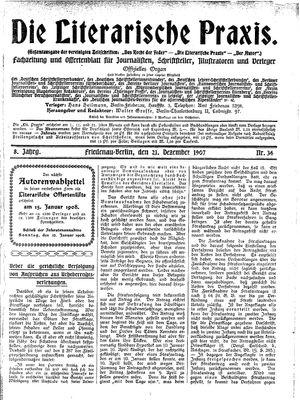˜Dieœ literarische Praxis vom 21.12.1907