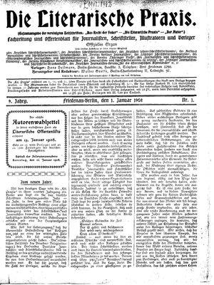 ˜Dieœ literarische Praxis vom 01.01.1908