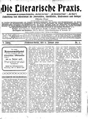 ˜Dieœ literarische Praxis vom 11.01.1908