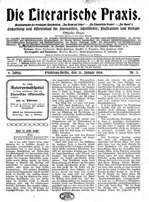 ˜Dieœ literarische Praxis on Jan 21, 1908