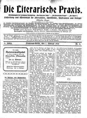 ˜Dieœ literarische Praxis vom 01.02.1908