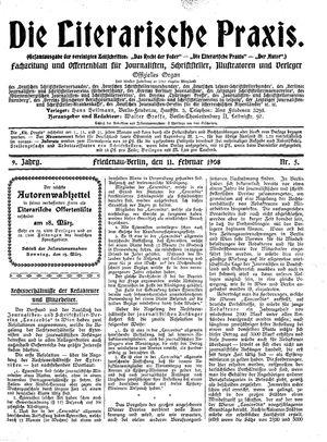 ˜Dieœ literarische Praxis vom 11.02.1908