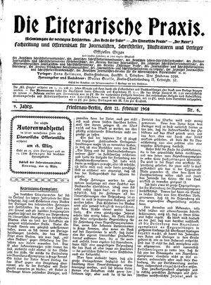 ˜Dieœ literarische Praxis vom 21.02.1908
