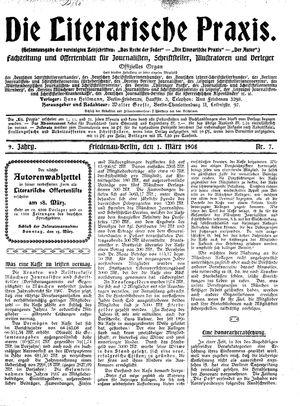 ˜Dieœ literarische Praxis vom 01.03.1908