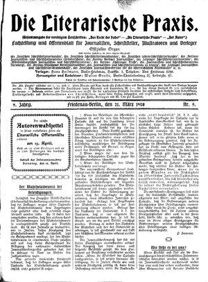 ˜Dieœ literarische Praxis vom 21.03.1908